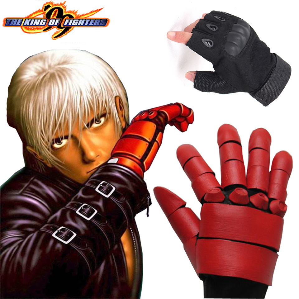 Free Shipping King of Fighters 99 K DASH Black and Red Fighting Combat Gloves Game Cosplay Accessories