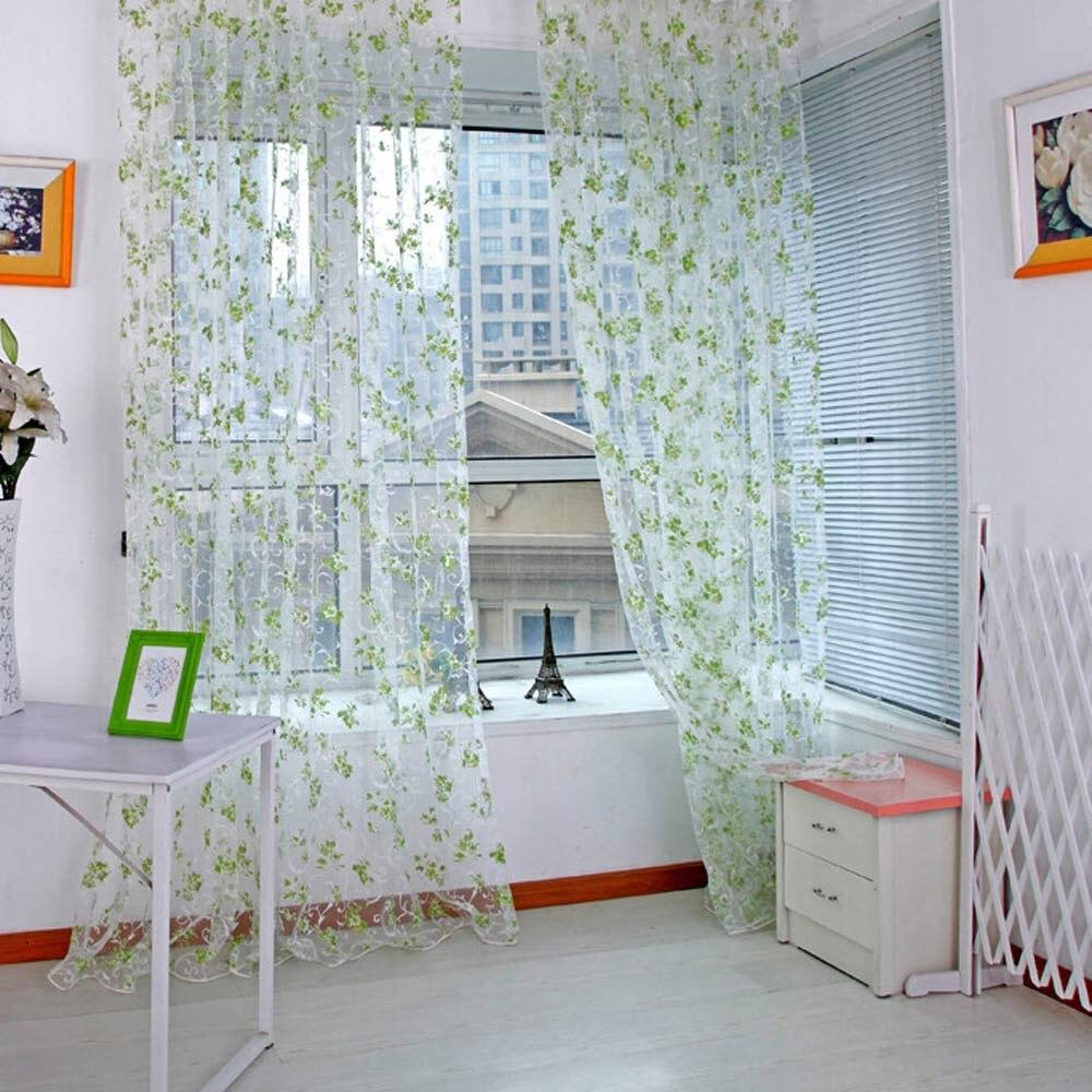 200x100cm Floral Roman Curtains Short Kitchen Door Panel Tulle Curtains  Short Window Curtains Modern Voile Sheer