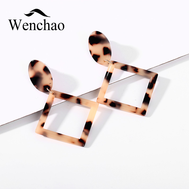 2018 Trend Fashion Square Earrings for Women Simple Tortoiseshell Earrings Party Fashion Ear Jewelry Geometric Drop Earrings in Drop Earrings from Jewelry Accessories