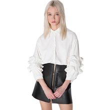 Layered Ruffles Sleeve Women Blouse White Single Breasted Female Shirts Brief Straight Shaping Slim Tops For Wholesale