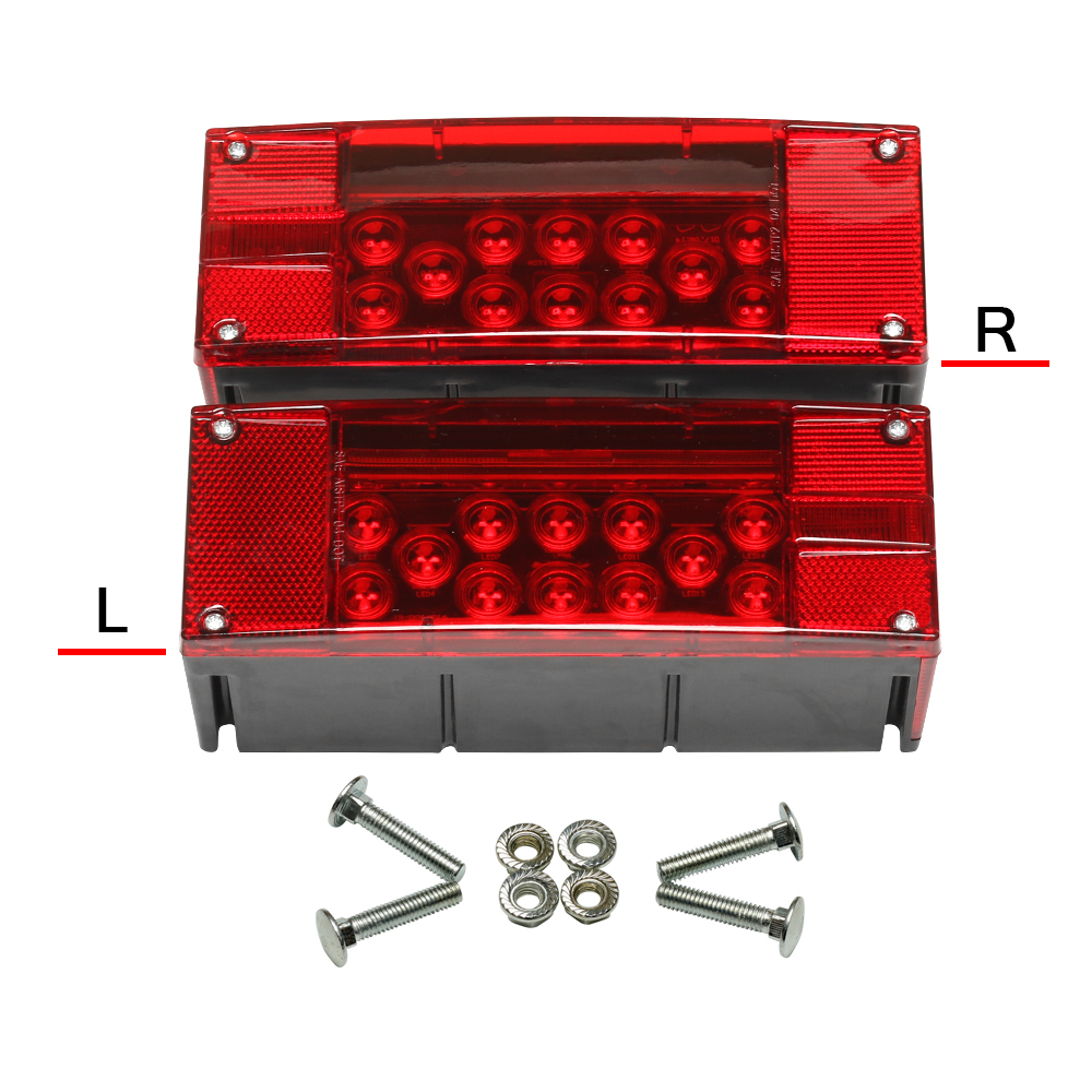 2pcs/pair  Left+Right LED  Red Trailer Boat Rectangle Stud Stop Turn Tail Lights 2pcs pairing left