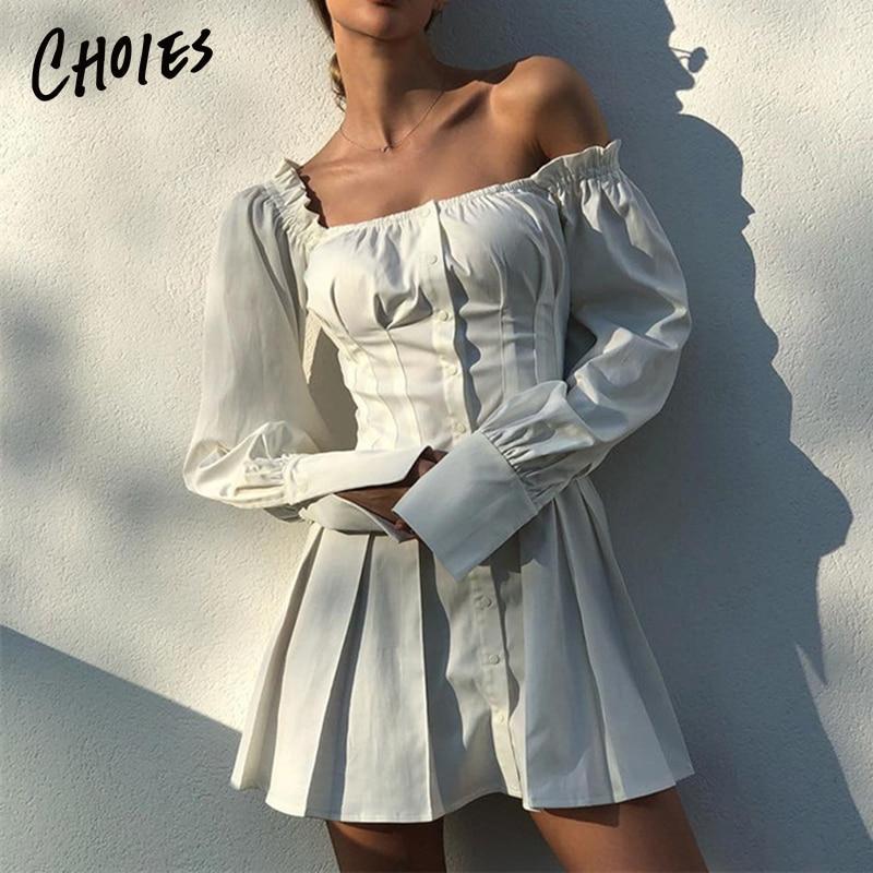Blanc hors épaule bouton Placket avant à manches longues Mini robe 2019 été nouvelles femmes Slash cou mode automne taille haute robe