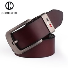 COOLERFIRE  New Men genuine leather belts high quality vintage style male strap classic jeans for men 051