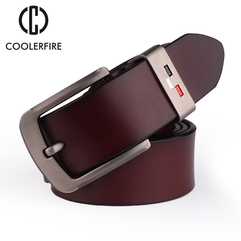 COOLERFIRE New Men genuine leather belts high quality vintage style male strap classic jeans leather belts for men 051