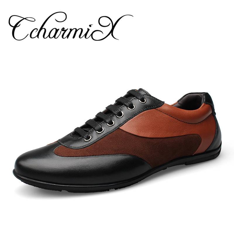 CcharmiX Big Size Full Grain Leather Mens Shoes Genuine Leather Lace Up Men Casual Shoe Luxury Brand Winter Autumn Male Footwear 2016 triangle rivets decoration full grain leather casual shoes eu luminescent substrate high shoes lace up couple models white