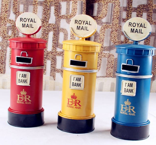 Retro Mailbox Piggy Bank Painted Metal Money Boxes Creative Mailbox