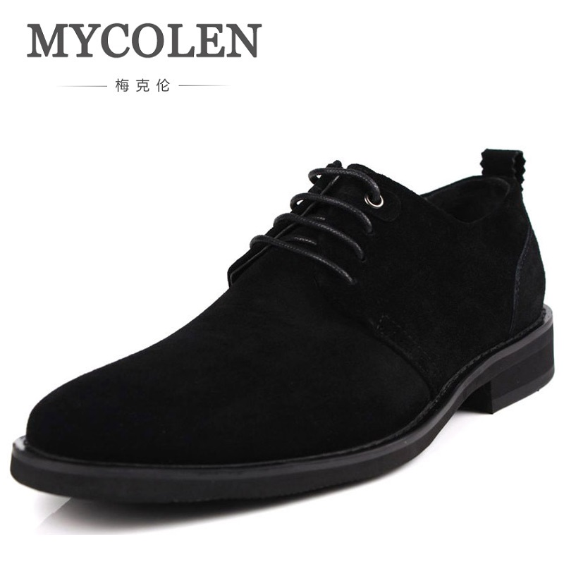 MYCOLEN Genuine Leather Nubuck Mens Formal Shoes Soft Men Casual Dress Shoes Pointed Toes Wedding Men's Oxfords Herenschoenen high quality men flats shoes genuine leather mens formal dress shoes handmade casual shoes soft oxfords moccasins