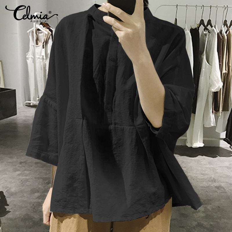 Plus Size Women Blouses Shirts Casual Celmia Batwing Sleeve Buttons Female Tunic Tops 2019 Summer Pleated Solid Blusas Femininas(China)