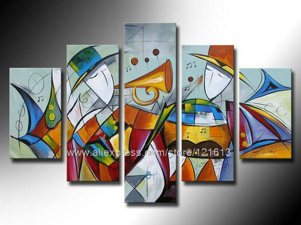 Abstract wall art group painting on canvas home decor wall hanging high quality abstract art hotel