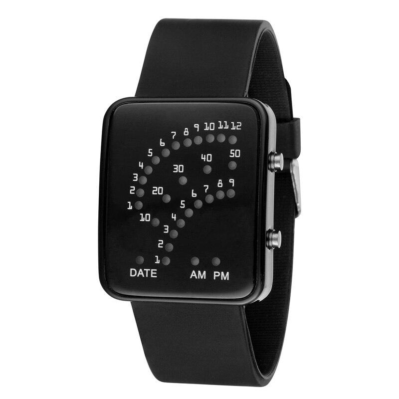 LED Electronic Wrist Watch Sector Binary Digital Waterproof Fashion Unisex Couple Watches KNG88