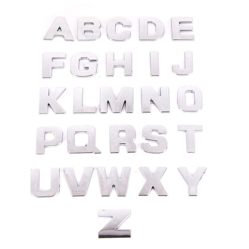 1 Piece Emblem 3d Metal Diy Letters Alphabet Emblem Chrome Wall Stickers Digital Badge Wall Accessories Funny Sticker