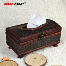 VOLTOP Antique Wooden Paper Towel Box Car Ornaments Accessories  Retro Handmade Tissue Box Car Office Home Restaurant Bar