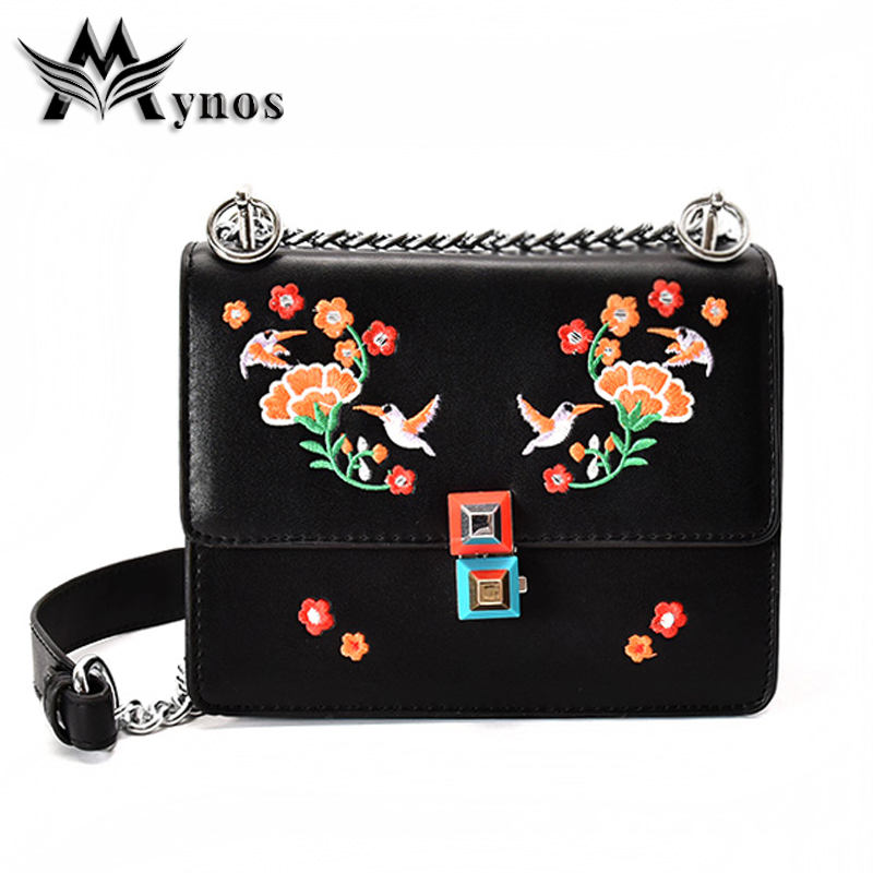 MYNOS2017 Leather Women Shoulder bag Floral Embroidery Crossbody Bags For Girls Brand Famous Solid Handbag Clutch Female Bag xiyuan brand ladies beautiful and high grade imports pu leather national floral embroidery shoulder crossbody bags for women