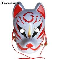 Takerlama Hand Painted Fox Mask Japanese Full Face PVC Halloween Animal Mask Masquerade Cosplay Party Masks