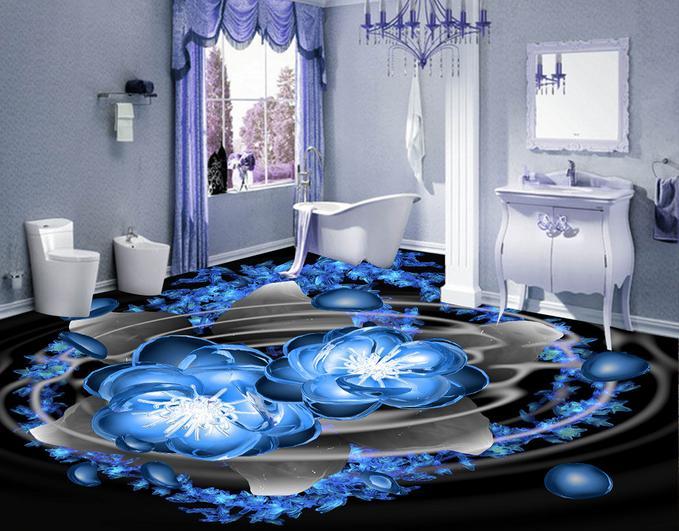 suelo de pvc fondo de pantalla azul resplandor crystald piso azulejos para baos de vinilo