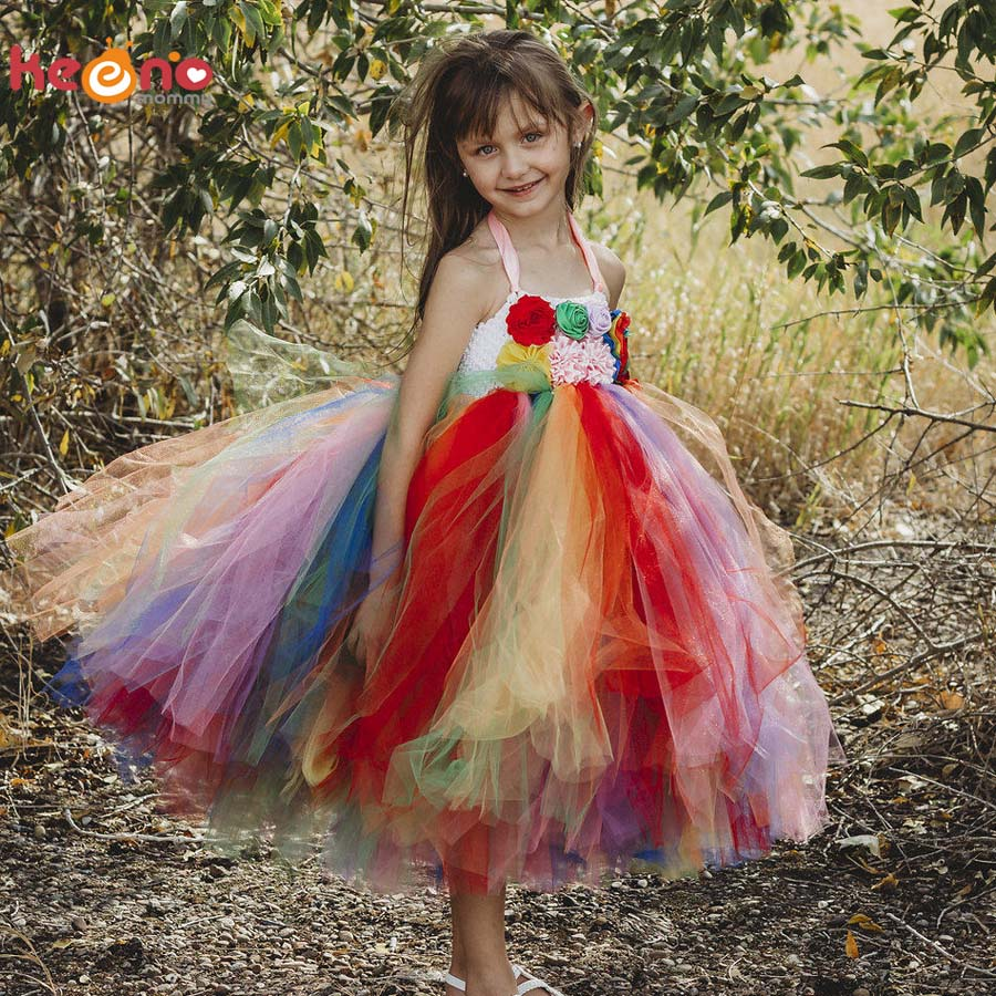 Rainbow Flower Girl Tutu Dress Princess Baby Holiday Ball Gown Perfect for Rainbow Colorful Themed Weddings Birthday Party rainbow flower girl tutu dress for