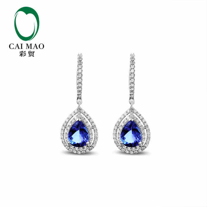 CaiMao 14KT/585 White Gold 2.1 ct Natural IF Blue Tanzanite AAA 0.60 ct Full Cut Diamond Engagement Gemstone Earrings Jewelry caimao exquisite jewelry natural cabochon cut emerald baguette cut diamond 14kt white gold drop earrings