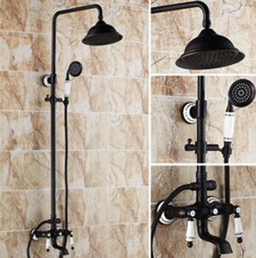 Classical Oil Rubbed Bronze Soild Brass Bathroom Shower Set Faucet Round Shower Head Ceramic Hand Shower