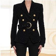 Chaqueta de lana brillante con cinturón de lazo y doble botonadura para mujer, chaqueta de diseñador a la moda barroca 2020