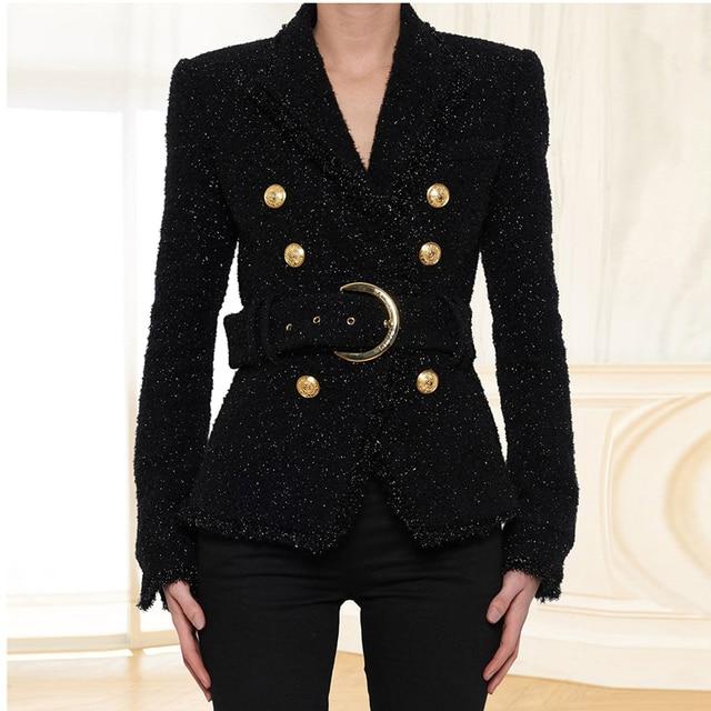 HIGH STREET Newest Baroque Fashion 2020 Designer Blazer Womens Double Breasted Lacing Belt Sparkle Wool Blazer