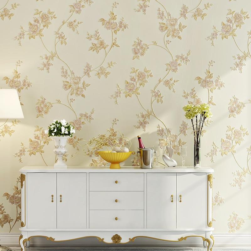 Купить с кэшбэком Chinese Style Nonwoven Wallpaper 3D Big Flower Bedroom Living Room TV Set Blue Green Pink Yellow Beige Wall Paper