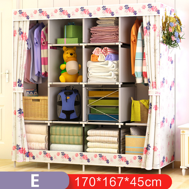 On Sale Modern Simple Wardrobe Fabric Folding Cloth Storage Cabinet DIY Assembly Easy Install Reinforcement Wardrobe Closet