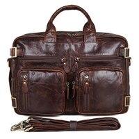 Для мужчин из натуральной кожи Портфели 15 большой из натуральной кожи Бизнес путешествия ноутбук сумка двойной Слои посланник сумки