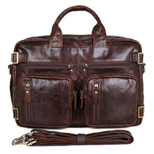 """Men's Genuine Leather Briefcase  15"""" Big Real Leather Business Travel  Laptop Tote Bag Double Layer Messenger Handbag Bags"""