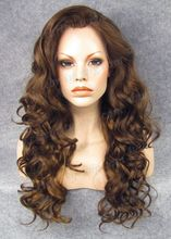 Long Curly Light Brown Snthetic Lace Front Wig for Black Woman Free Shipping