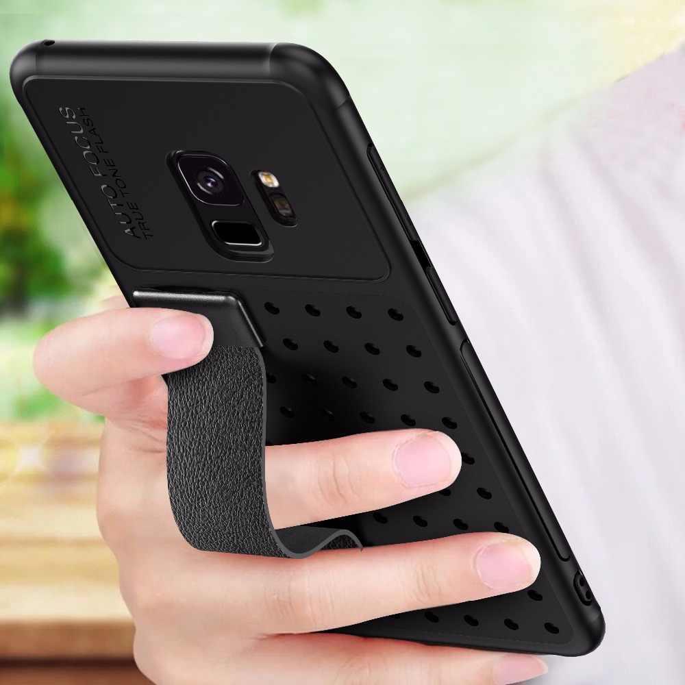สำหรับ Samsung Galaxy หมายเหตุ 9 เกราะที่ไม่ซ้ำกันมือเชือกวงเล็บแม่เหล็กสำหรับ Galaxy S9 S9 Plus TPU + PC Shell