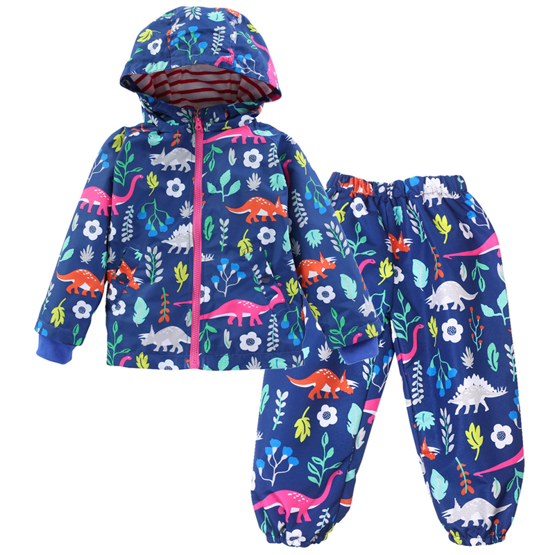 Children Dinosaur Raincoat Spring Autumn Coats For Girls Kids Waterproof Clothes Sets Sports Poncho Boys Rainwear+Rain Pants