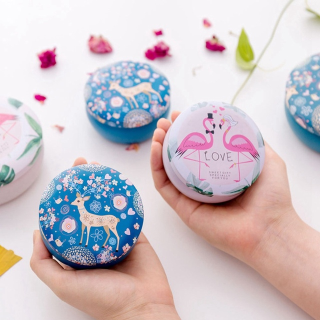 Gifts For Organizers >> Us 1 54 Gifts Desk Organizer Flamingos Pattern Round Jewelry Cases Animal Storage Case 1 Pc Mini Tin Box Storage Boxes Wedding Candy Box In Makeup