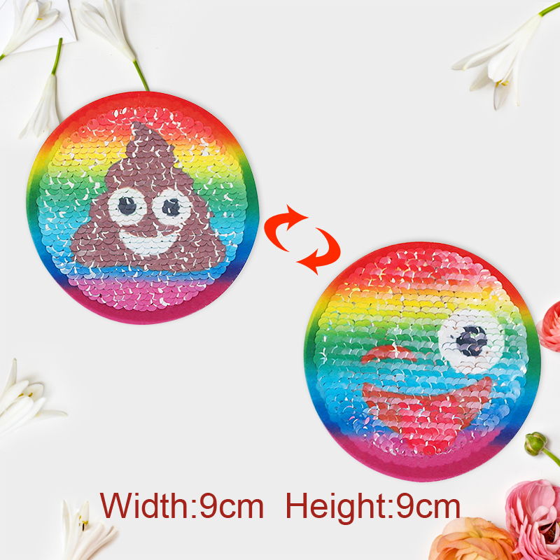 5pcs/lot Cute Smiling Face Reversible Change Color Sequins Embroidered Sewing On Patch For T-shirt Clothes Applique DIY Accessor