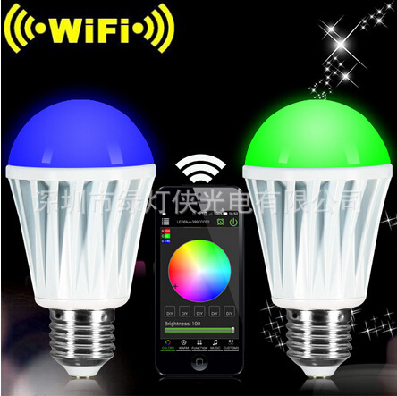 Mobile remote control bulb WiFi Bluetooth LED light bulb intelligent dimming wireless E27 energy-saving color lamp can  change microscope accessories mobile 00 foot power dimming