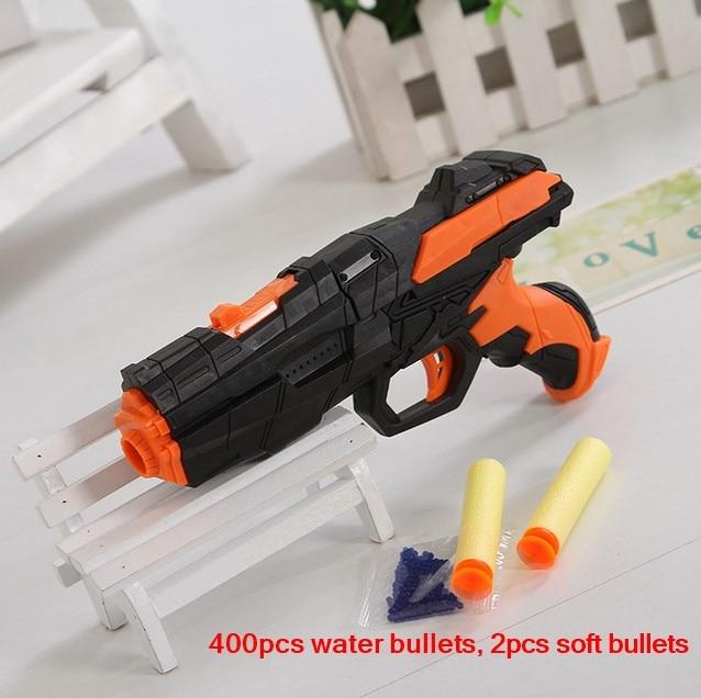La última pistola de agua de pistola de bala suave EVA bullet + bomba de agua pistola de doble uso de ráfagas de juguete de cristal