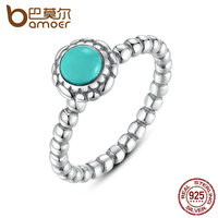 BAMOER Birthday Blooms Ring December Turquoise Ring 100 Fine 925 Sterling Silver Jewelry PA7162