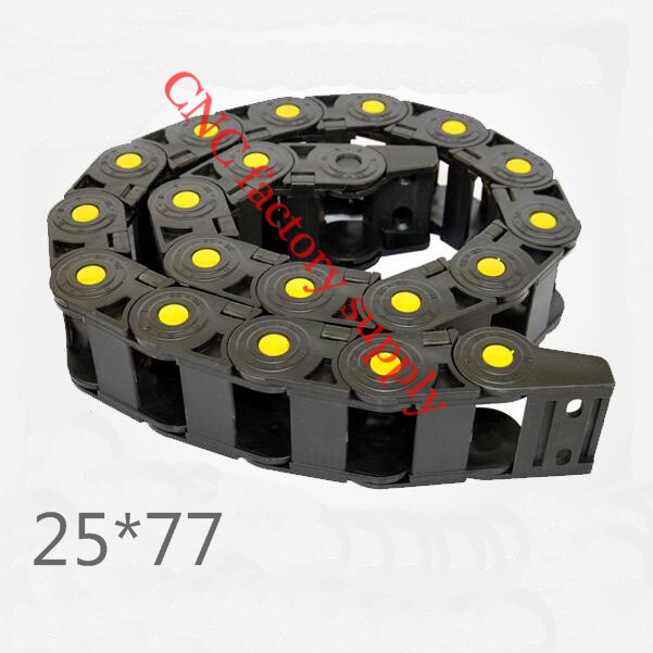 Free Shipping  Yellow spot 1M 25*77 mm  Plastic Cable Drag Chain For CNC Machine,Inner diameter opening cover,PA66 best price 25 x 57 mm l1000mm cable drag chain wire carrier with end connectors for cnc router machine tools