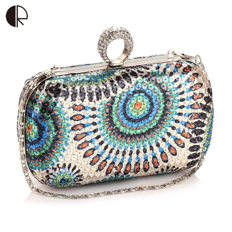 2016 Pailletten Abendtasche Abendtasche Mit Einem Diamantring Frauen Strass Bankett Handtasche Tag Kupplung Weiblich 5 Farbe Khucklebox