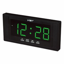 Big screen digital led alarm clock with EU plug big numbers display electronic led wall clock