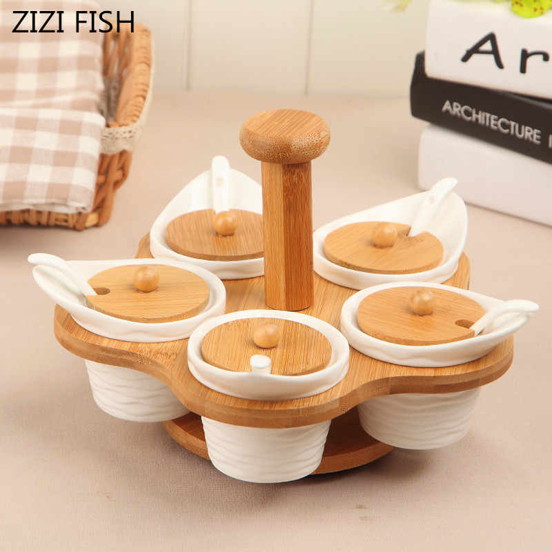 Asian Inspired Tiny Salt and Pepper Shakers and Condiment Server