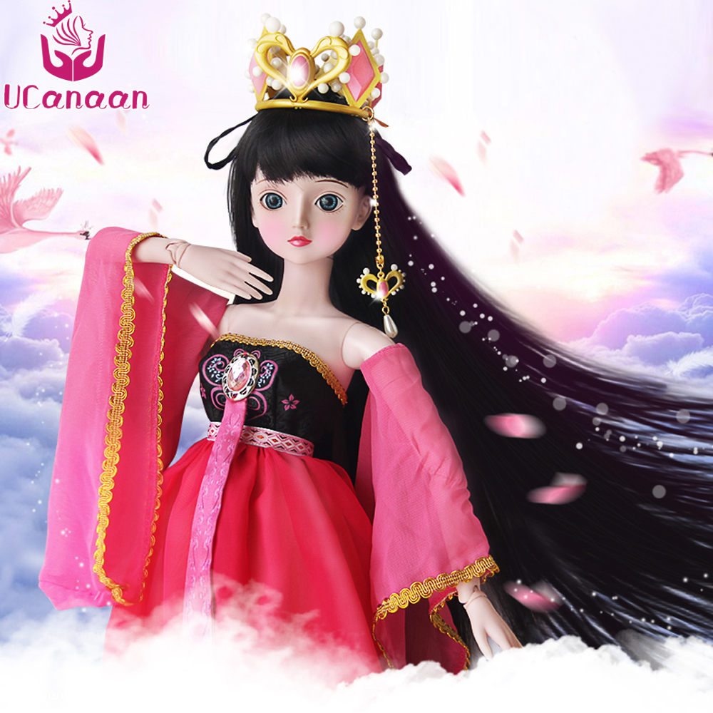 Ucanaan 1/3 Large BJD/SD Doll Body Can Be Rotated Chinese Ancient Style Fairy Free Make Up Dress Clothes Shoes wig For Girl handsome grey woolen coat belt for bjd 1 3 sd10 sd13 sd17 uncle ssdf sd luts dod dz as doll clothes cmb107