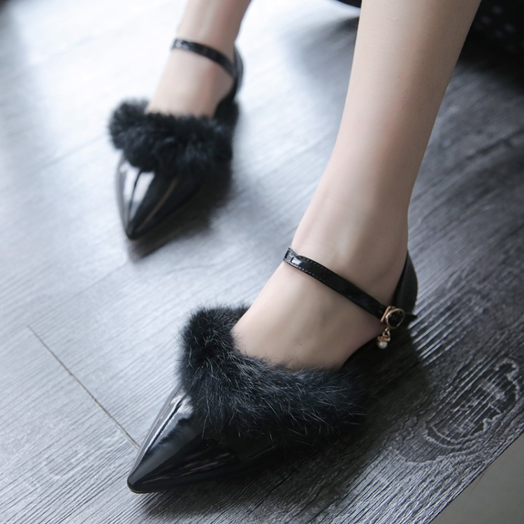 ФОТО Pointed toe rabbit fur single shoes hasp women's low-heeled shoes sexy small 32 33 plus size 40 - 48 formal dress shoes