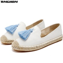 TINGHON Fashion Women Ladies Espadrille Shoes Canvas Embroidery Tassels Hemps Fisherman Flats Shoes