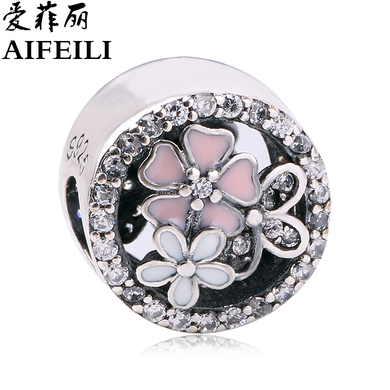 AIFEILI DIY Fit Original Pandora Charms Bracelet Purple Clear CZ Flower Beads 925 Sterling Silver Forget Bead Jewelry Making