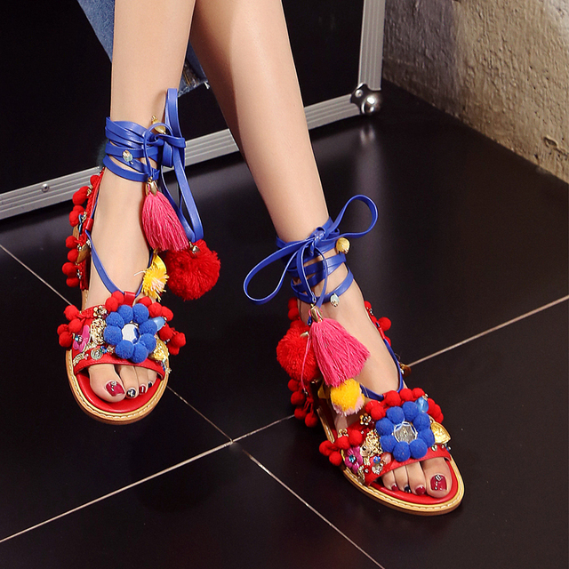 87e8515d7f2d Choudory Bohemian Style Mix Flowers Fringe Studded Sandals Women Fashion  Flat Shoes Gladiator Sandals Woman Strappy Summer Shoes