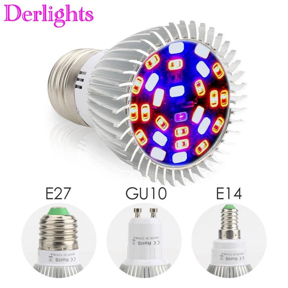 18//28W E14 E27 GU10 LED Grow Light Bulb Plant Hydroponic Full Spectrum Supplies
