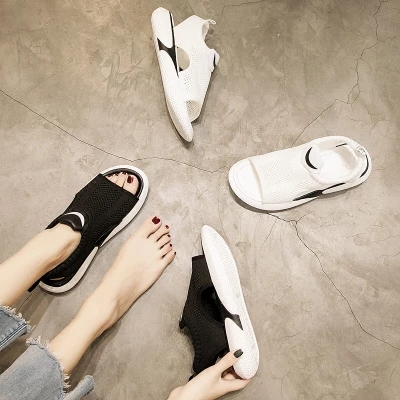 Plat Net 1 coréen 2018 Paragraphe 2 Rouge Nouvelle Tête Poisson De Le Femmes Chaussures Avec D'été Étudiants Ins Sauvage Sandales HFS0I