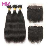 Hair Villa Remy Brazilian Straight Hair Ear To Ear Lace Frontal Closure With 3 Bundles Human