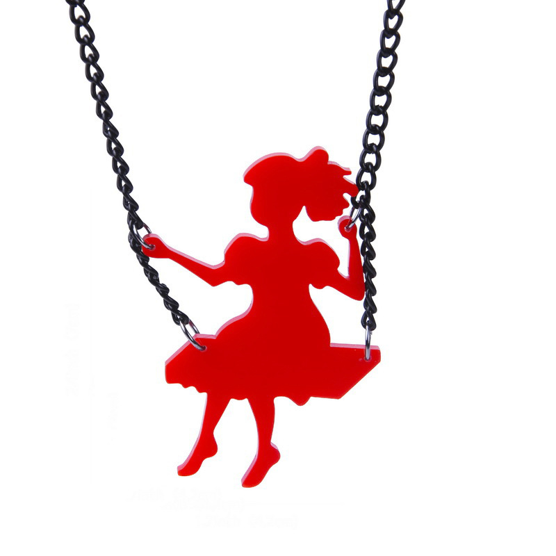 Pendant Necklaces Cheap Sale 2019 New Cute Little Girl On Swing Fashion Cartoon Pendants Necklaces Acrylic Necklace Women Accessories Drop Shipping E19013 Durable Service Jewelry & Accessories