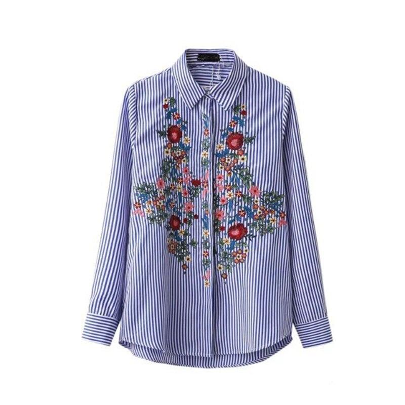 Синяя хлопковая рубашка с вышивкой